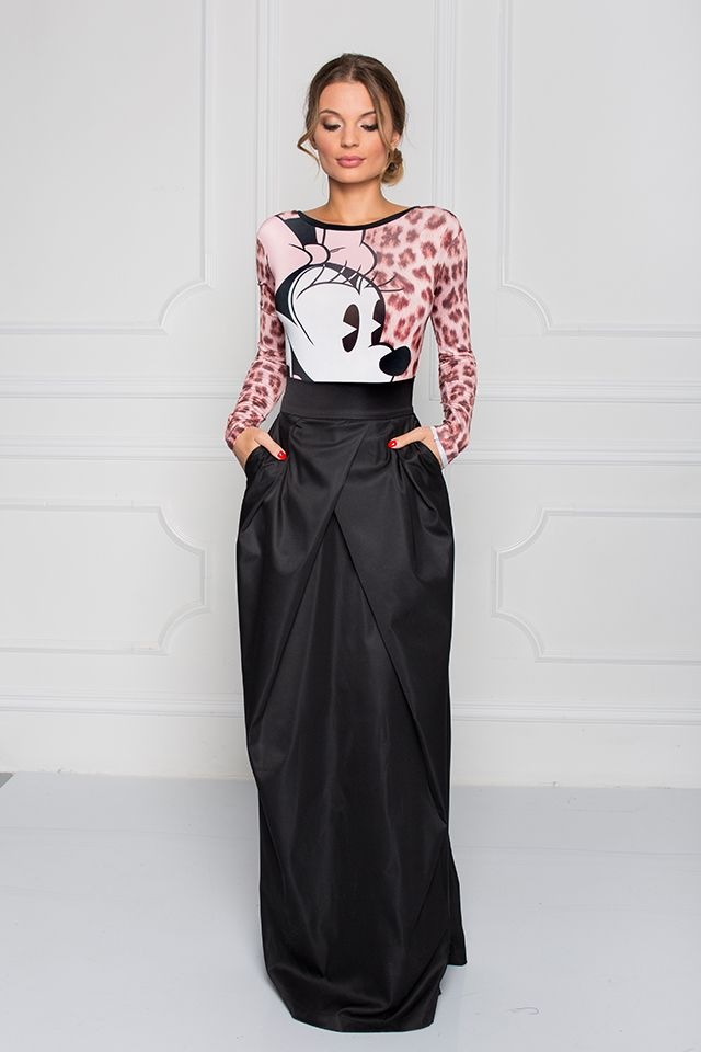 f38ababe35 Disney + Sugarbird Designs Exclusive for Inance Basic Black Maxi Skirt