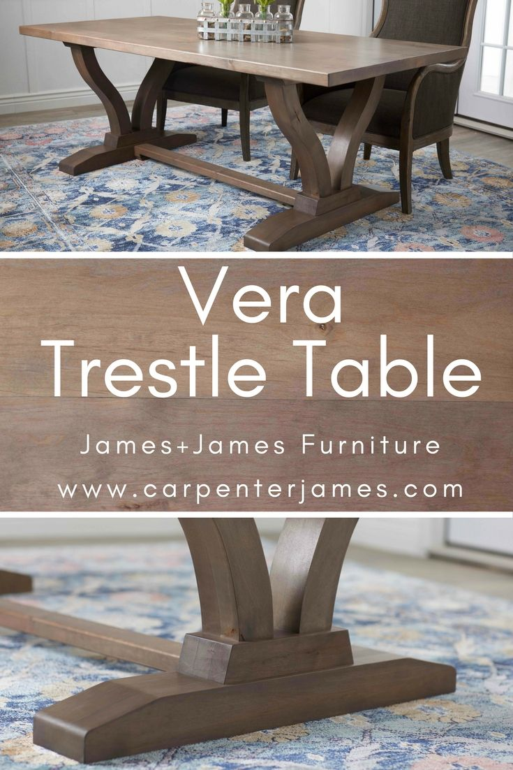 Vera Trestle Table Solid Wood Kitchen Table Solid Wood