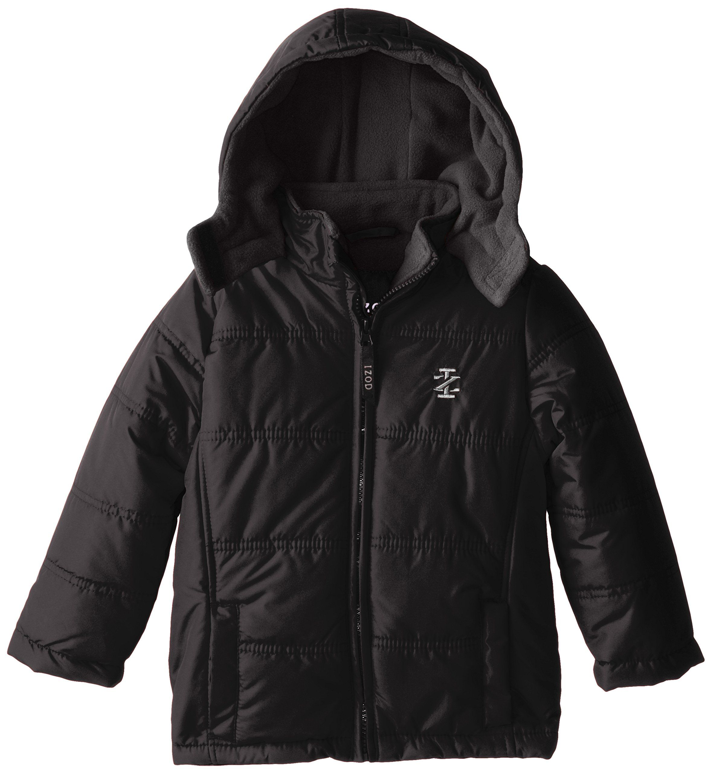 Izod Little Boys Hooded Puffer Coat With Contrast Fleece Lining Black Charcoal 5 Izod Branding On All Hardware And Zipper Puffer Coat Black Charcoal Puffer [ 2560 x 2357 Pixel ]