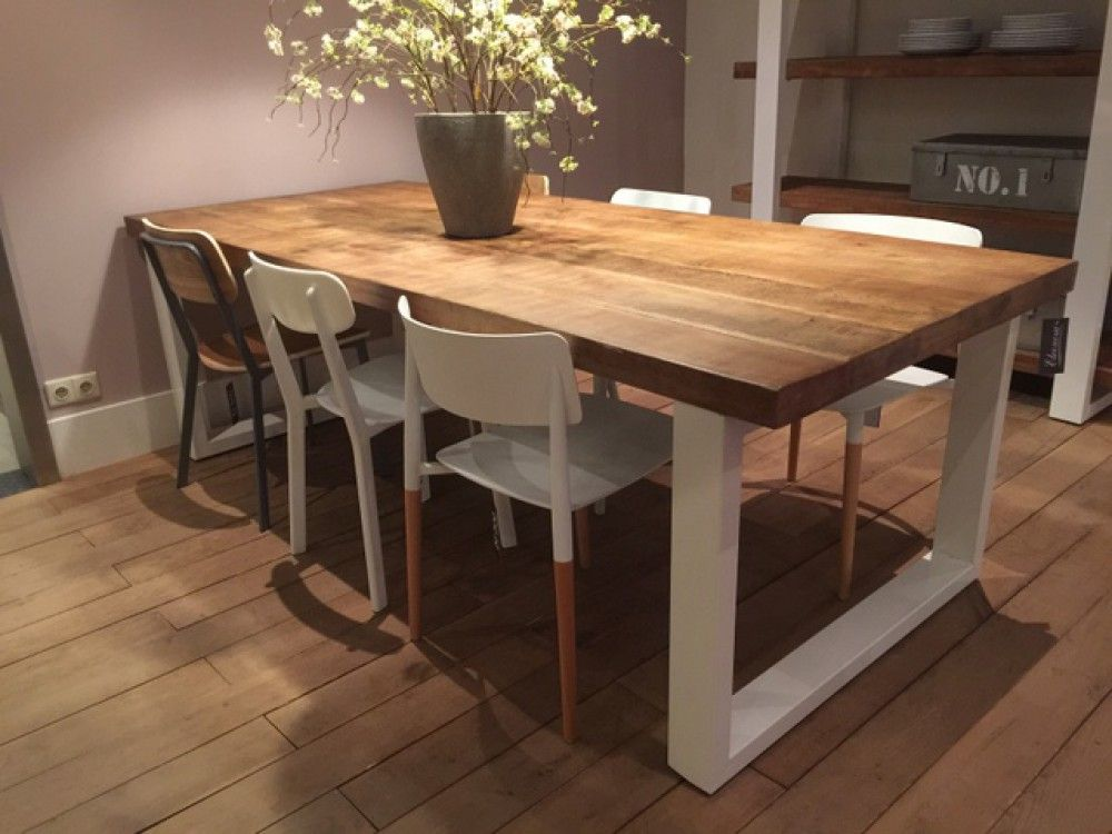 Tisch weiß Naturholz, Esstisch Industrie weiß, Tisch