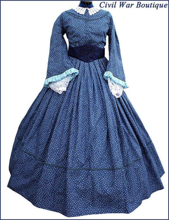 4 piece 1800\'s Civil War Victorian Pagoda Sleeve Blue Day Dress Gown ...