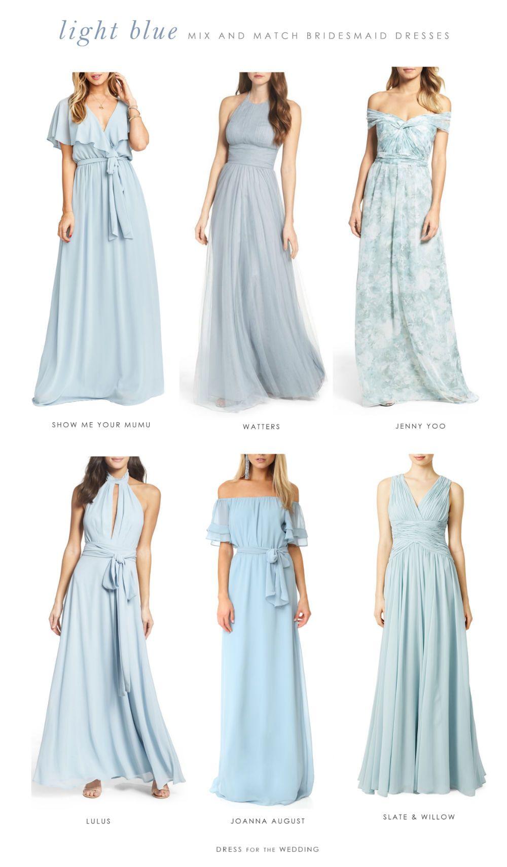 Light blue mix and match bridesmaid dresses wedding weddings and
