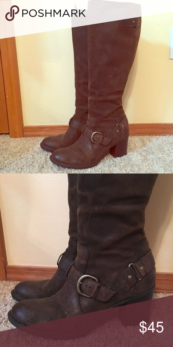 535d0e450 Born tall brown leather boots. Size 9 1/2. Tall leather Born boots with  buckle details. Full zip on inside. Born Shoes Heeled Boots