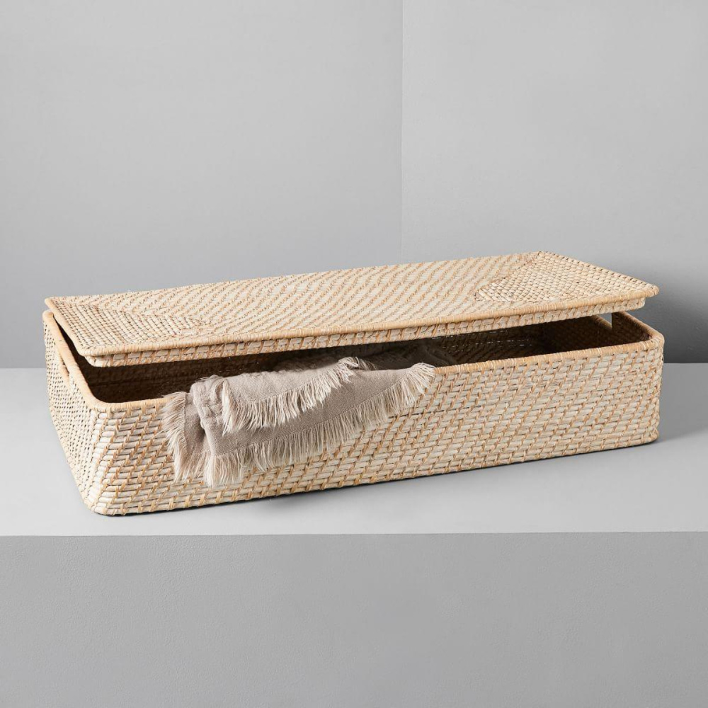 Modern Weave Underbed Storage Basket Whitewashed Under