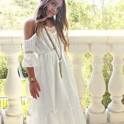 91dd87d1ab51e Girls white bohemian dress