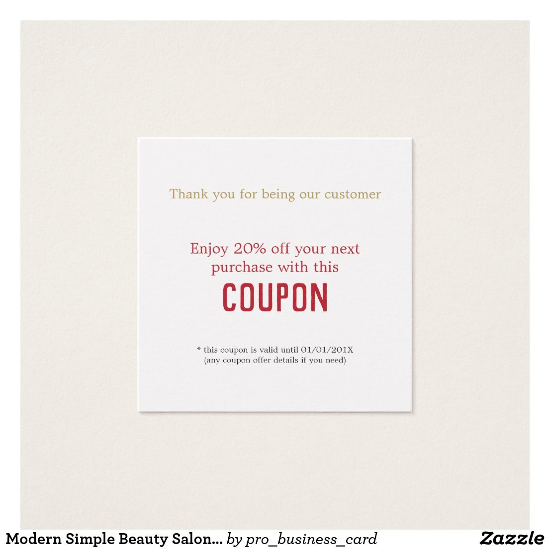 Modern Simple Beauty Salon Thank You Coupon Square Business Card ...