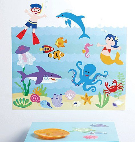 Wallies Peel And Stick Wall Play Olive Kids Aquarium Wallies,http://www