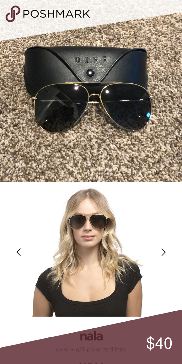 ade897e6d8 Diff Nala sunglasses Cute aviators golf frame and grey tinted lenses. Brand  new with case. Just too big for my face! Diff Eyewear Accessories Sunglasses