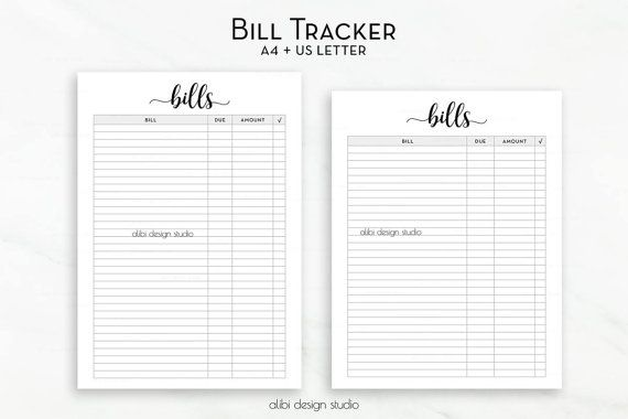 Bill Tracker Planner Printable  Bill Inserts  Finance Planner