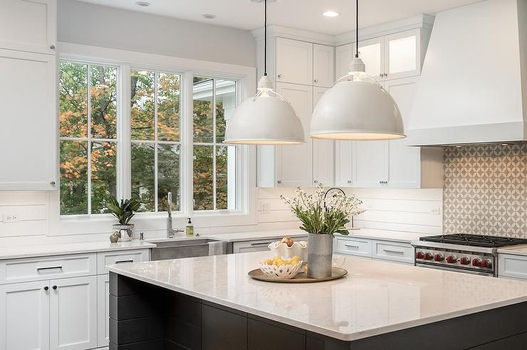 White Modern Farmhouse Style Kitchen Features Shiplap Backsplash