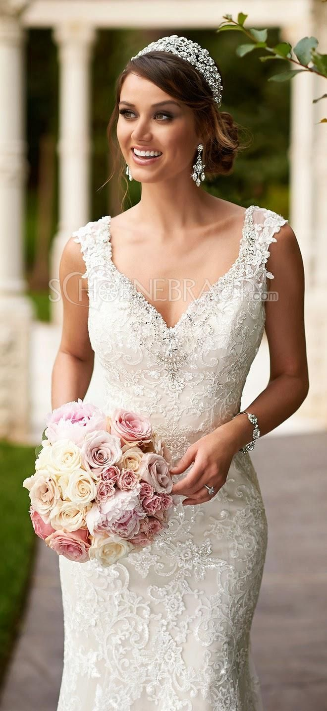 Elegant Spitze Brautkleid Lace Empire Hochzeitskleid lang rückenfrei ...