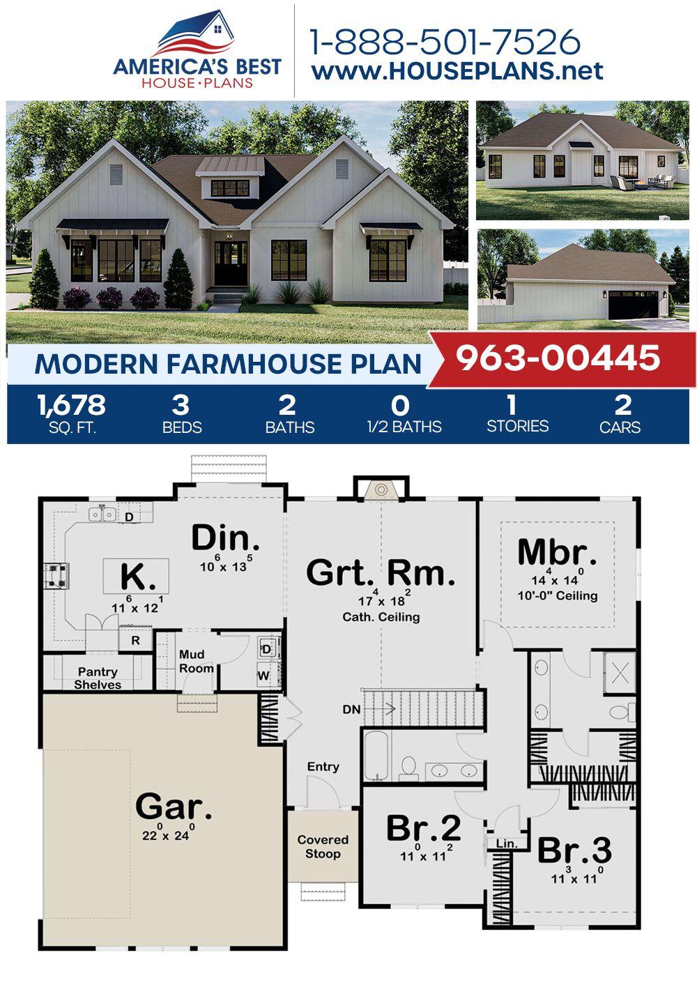 House Plan 963 00445 Modern Farmhouse Plan 1 678 Square Feet 3 Bedrooms 2 Bathrooms Modern Farmhouse Plans House Plans Farmhouse Farmhouse Plans