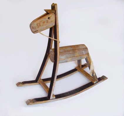 Rocking horse from recycled oak wine barrel