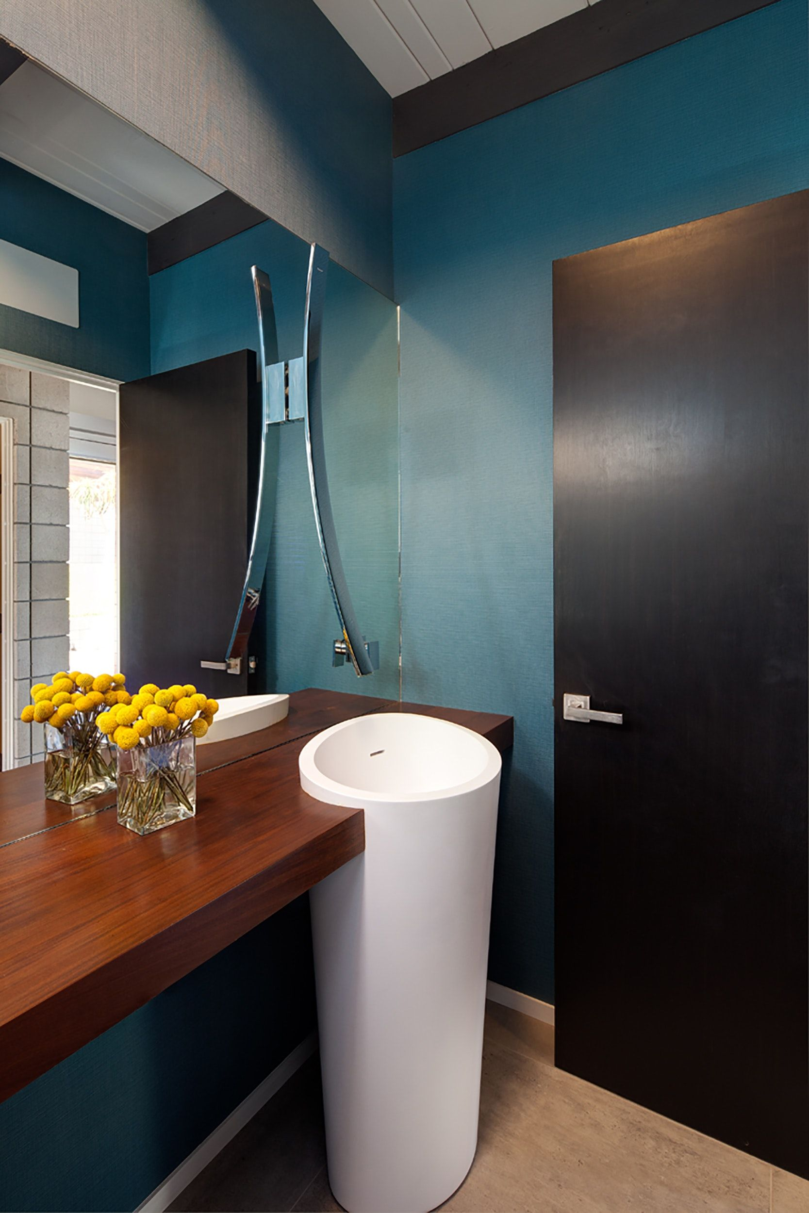 Pacific Beach Remodel, Powder Bath With Statement Faucet And Freestanding