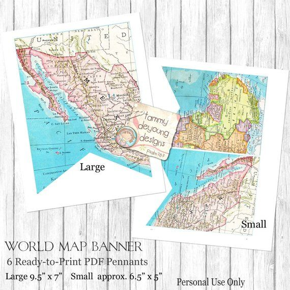 World Map Bunting Map Garland Printable Map Banner Travel Theme