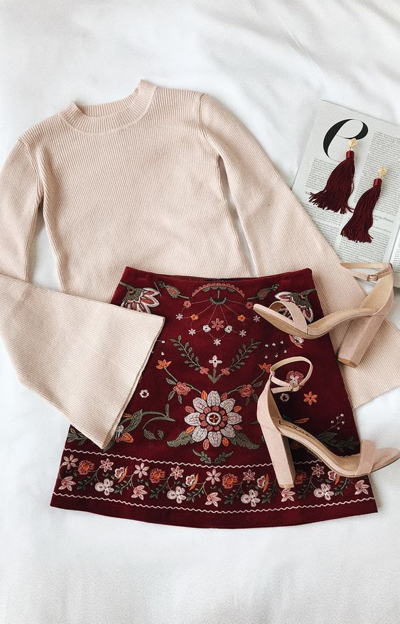 Mountain High Burgundy Embroidered Corduroy Mini Skirt #historyoftheworld