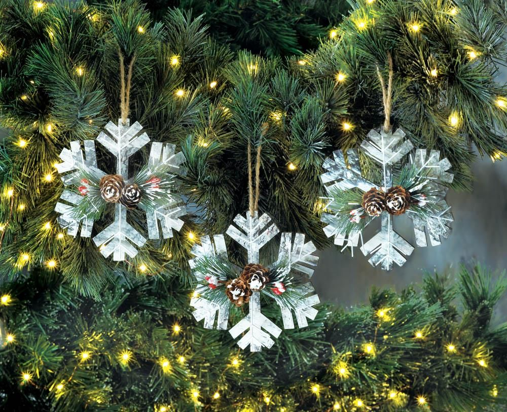 rustic snowflake christmas ornament trio wholesale at koehler home decor