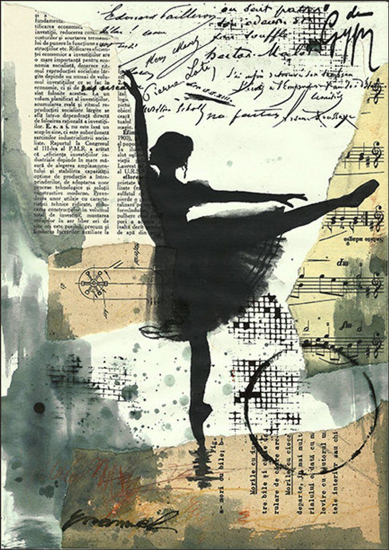 Print Art canvas christmas Gift poster Mixed Media sketch Collage Painting Illustration Ballet One of A Kind Autographed Emanuel M. Ologeanu