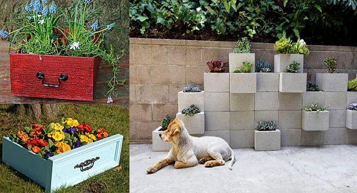 Macetas y jardineras originales con material reciclado for Como decorar una jardinera