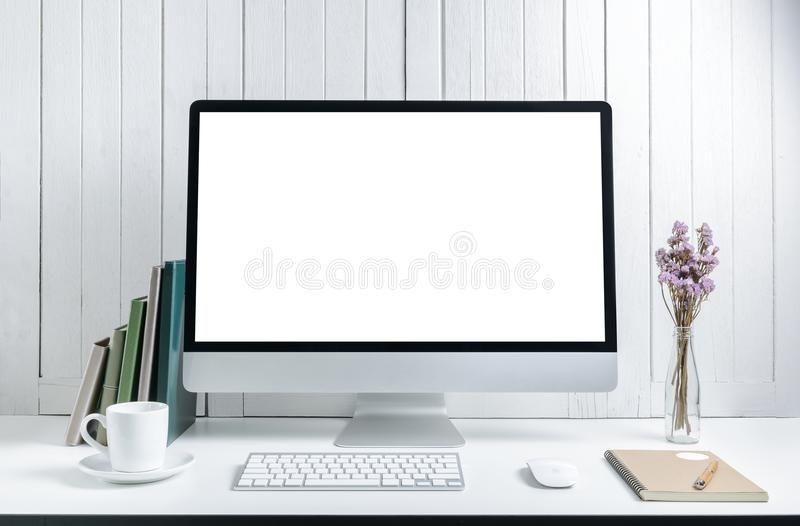 Workplace Background With Blank White Screen Modern Desktop Comp Uter Keyboard Sponsored Desktop Modern Uter Comp Scree In 2020 Screen Modern Background