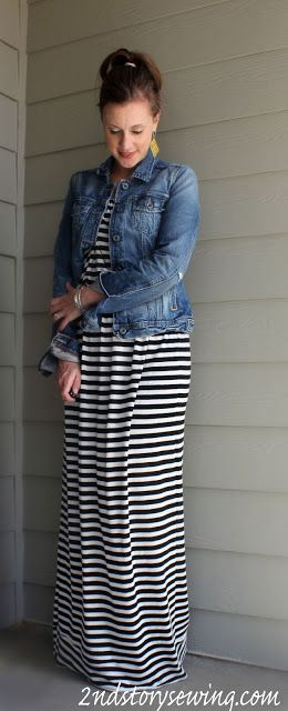 2nd Story Sewing: Black and White Striped Maxi Dress