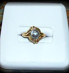Gold Grey Pearl Ring http://nationaldiamond.wix.com/nationaldiamond