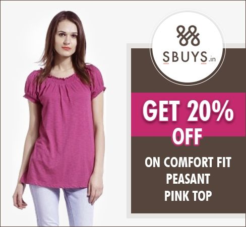 Get 20% off on comfort fit peasant #Pink #Top @ #Snapdeal