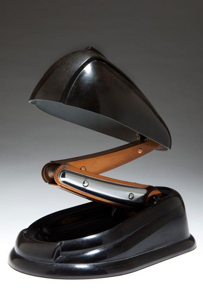 "French Art Deco JUMO ""Bolide"" Black Bakelite Table Lamp"