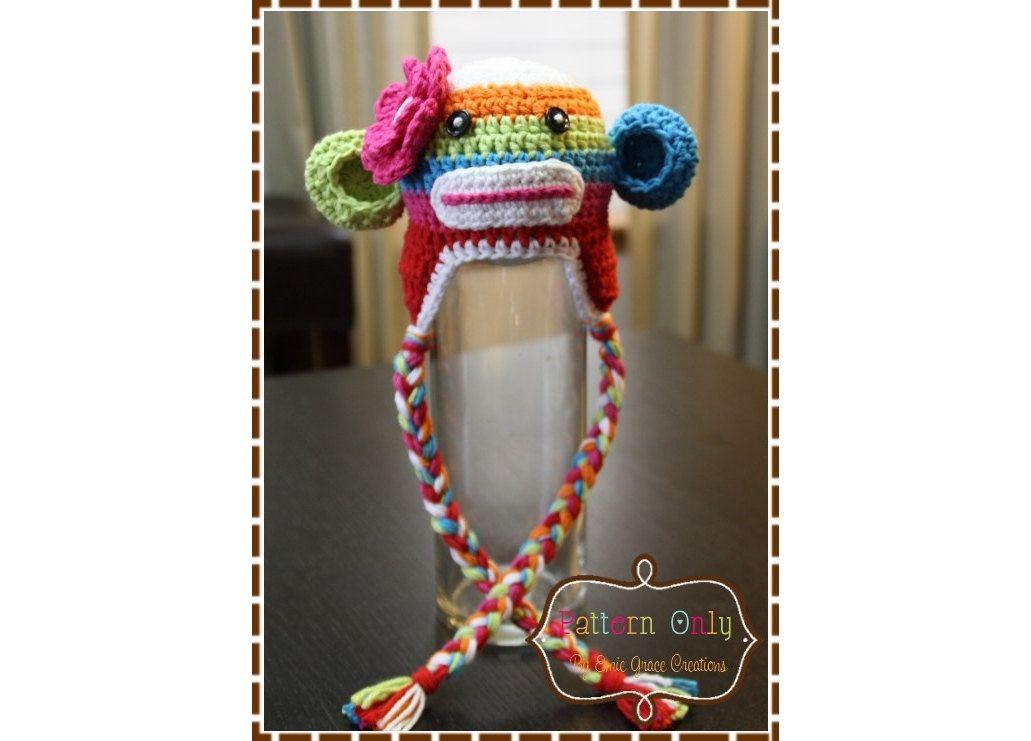 Sock Monkey Hat Crochet Pattern - SUZY & SID Rainbow Stripe - 122 ...