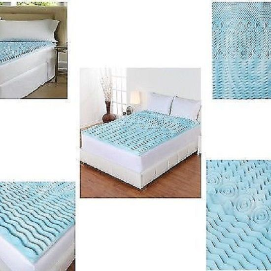 Cooling Gel Foam Mattress Topper Pad Bed Queen Size 2 Orthopedic