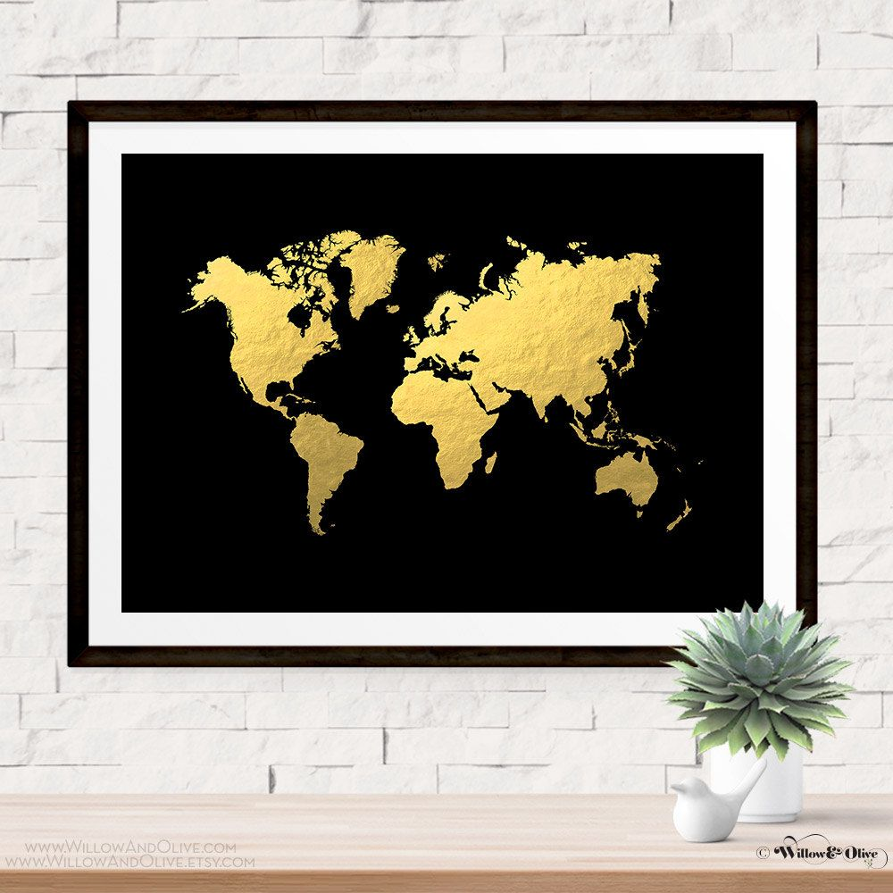 World map printable instant download faux gold foil gold world world map print poster faux gold foil gold world map gold map travel decor gold black wall art minimalist art print world map art gumiabroncs Gallery