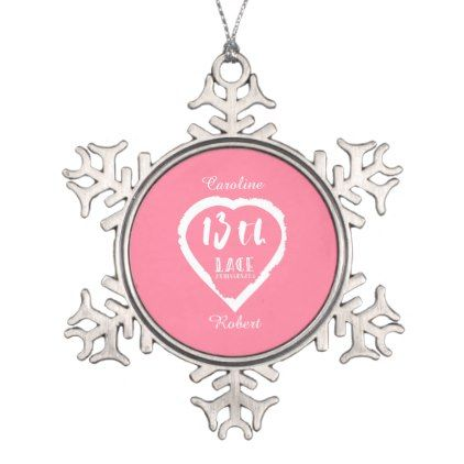 13th Wedding Anniversary Traditional Lace Snowflake Pewter Christmas Ornament