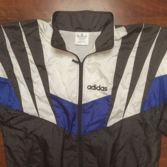Vintage 80's 90's Adidas Zip Up Windbreaker Grey Royal Blue