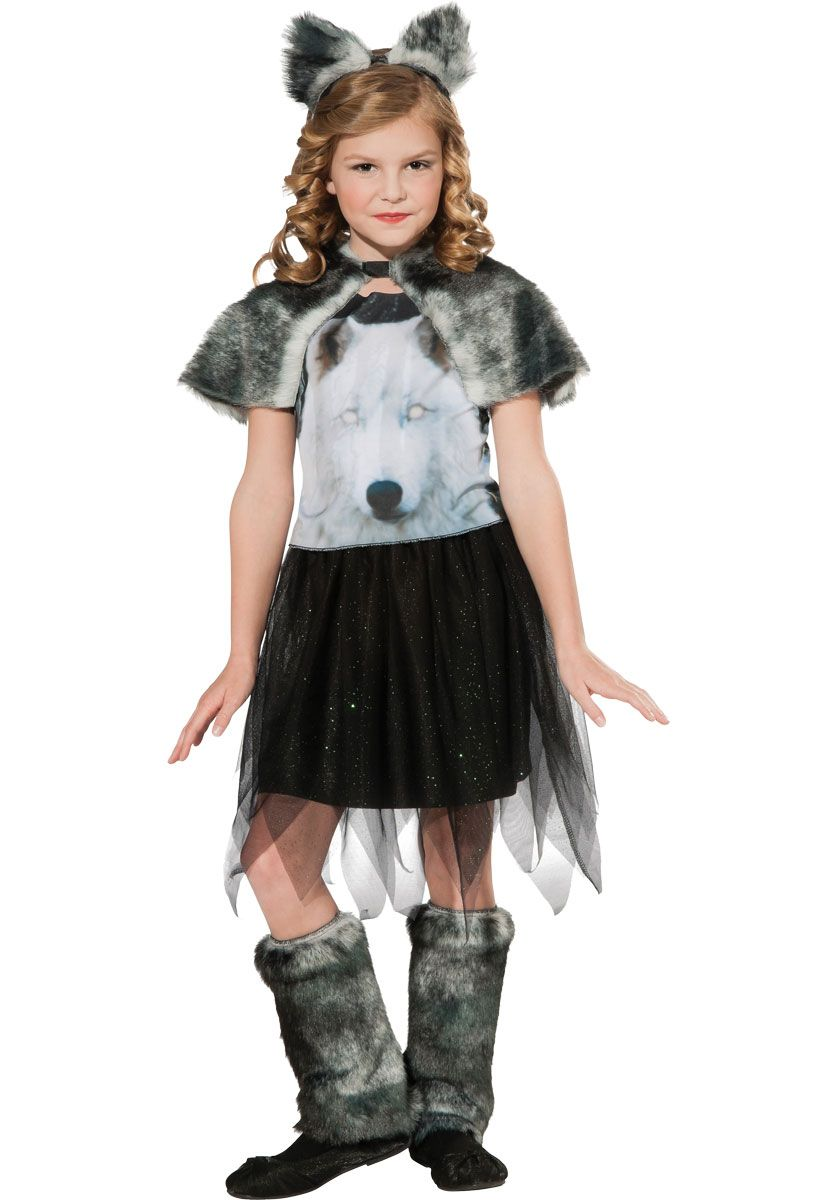 Kids Twilight Wolf Costume, Girl Werewolf Fancy Dress - Halloween ...