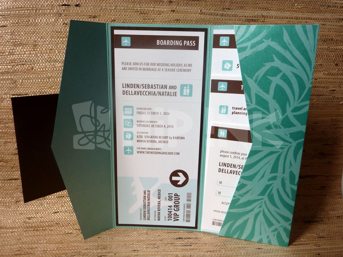 Something like this. Envelope with boarding pass on one side ...