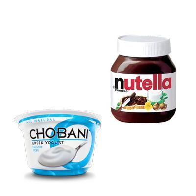 HEALTHY SNACK: NUTELLA AND NONFAT GREEK YOGURT  Greek yogurt can be completely transformed by mixing in one tablespoon of Nutella Hazelnut Spread and instantly goes from a healthy protein packed snack, to a sweet sensational treat.  Calories: 190 #snacks #recipes