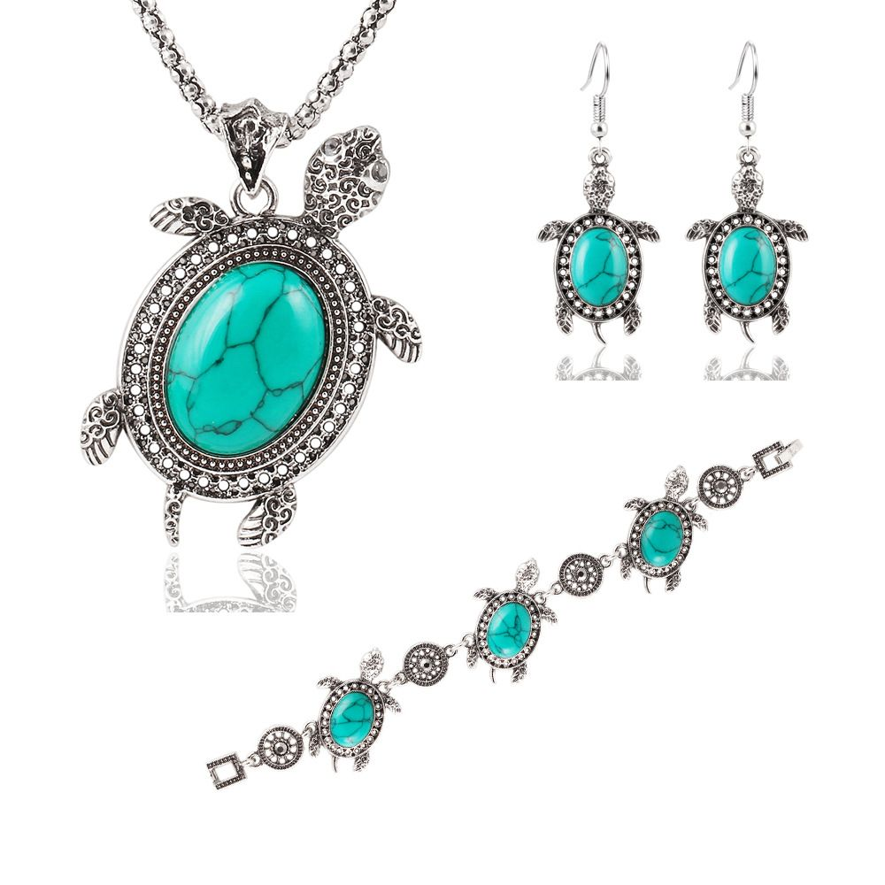 Click to buy ucuc vintage silver tone tortoise jewelry sets earrings