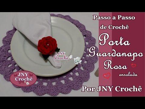 Passo a Passo Porta Guardanapo de Crochê Flor Rosa Enrolada por JNY Crochê - YouTube