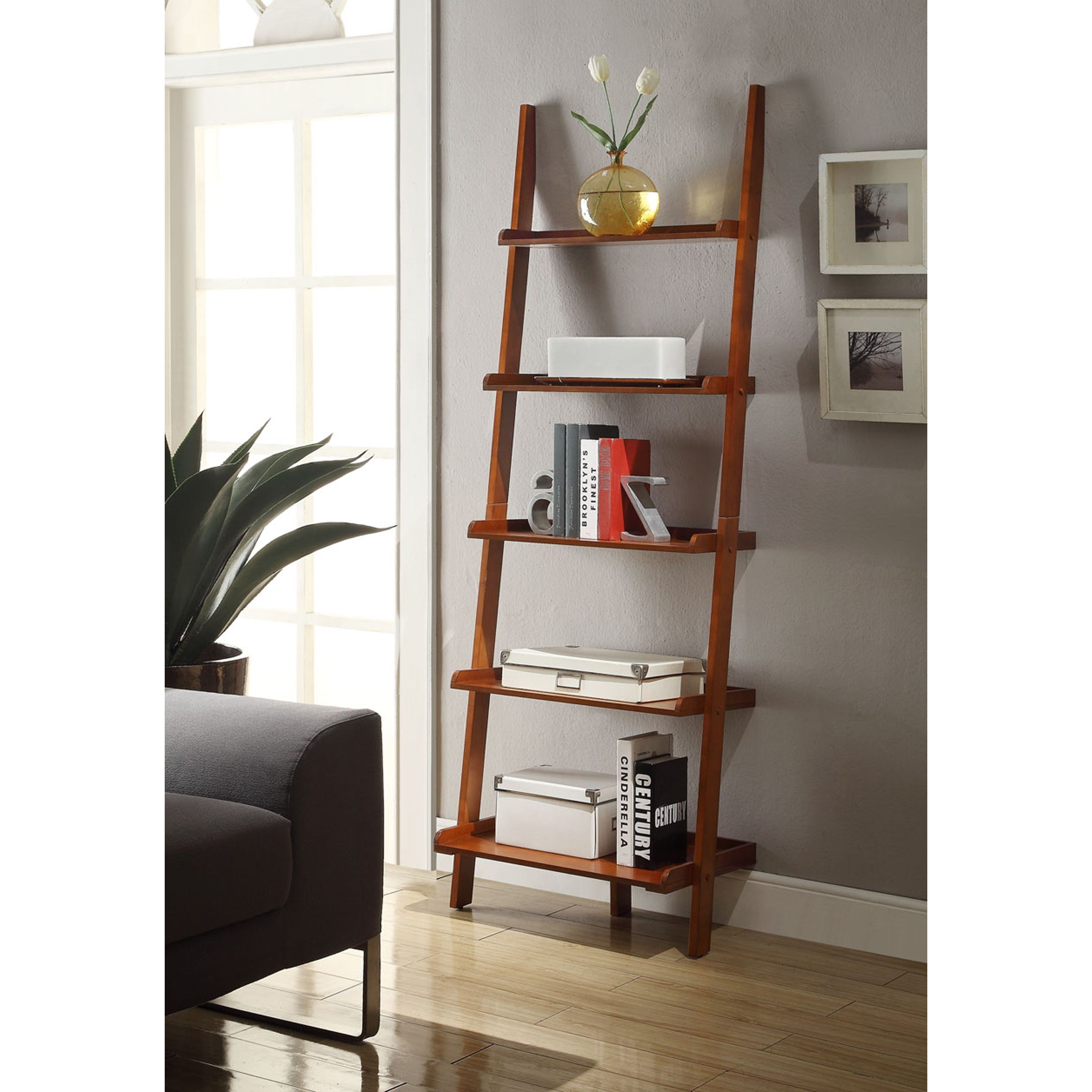 Convenience concepts american heritage bookshelf ladder cherry red