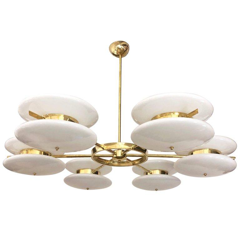 Italian Minimalist Contemporary White Murano Glass And Brass