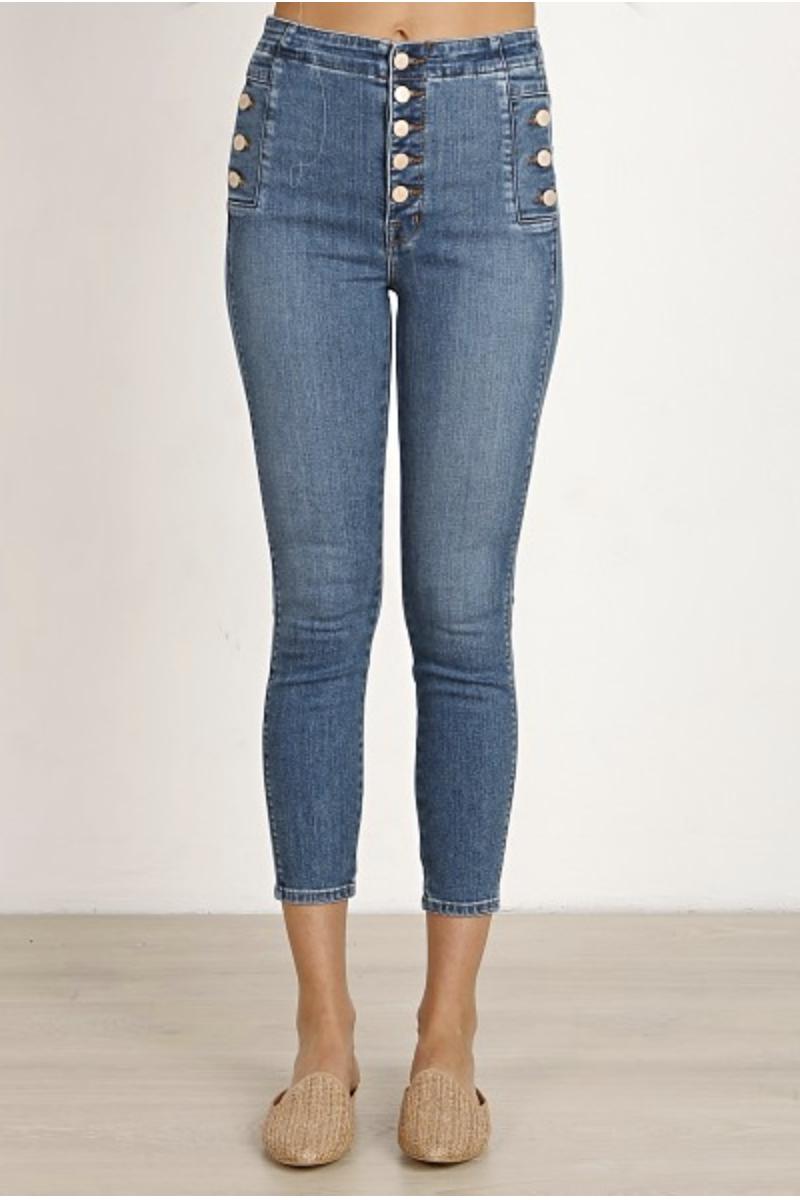b706e90ce6 J Brand Natasha Skye High Cropped Skinny Love Sick Cropped Skinny Jeans  Button Detail Trend Denim Classic Denim Must have