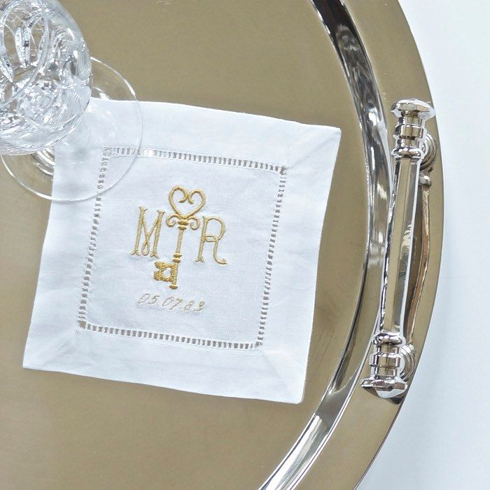 Monogrammed Cocktail Napkins With Key Design, Embroidered Cocktail Napkins, Table  Linens, Wedding Cocktail