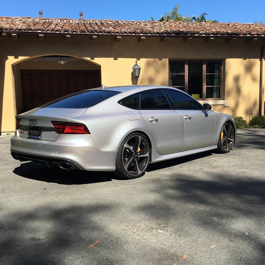 """""""@socalspotters Prism Silver RS7 with TAG Cosmetic Package, Painted Reflectors, and Yellow Calipers - wheels enroute! // #socalspotters #audi #RS7 #socal…"""""""