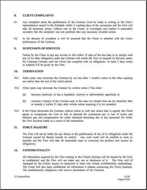 Cleaning Contract Template ContractStore - cleaning contract