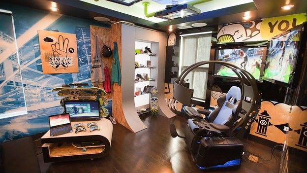 """Gaming Bedroom Stunning Extreme Makeover Home Edition  """"simpson Family""""  Skateboarding Inspiration"""