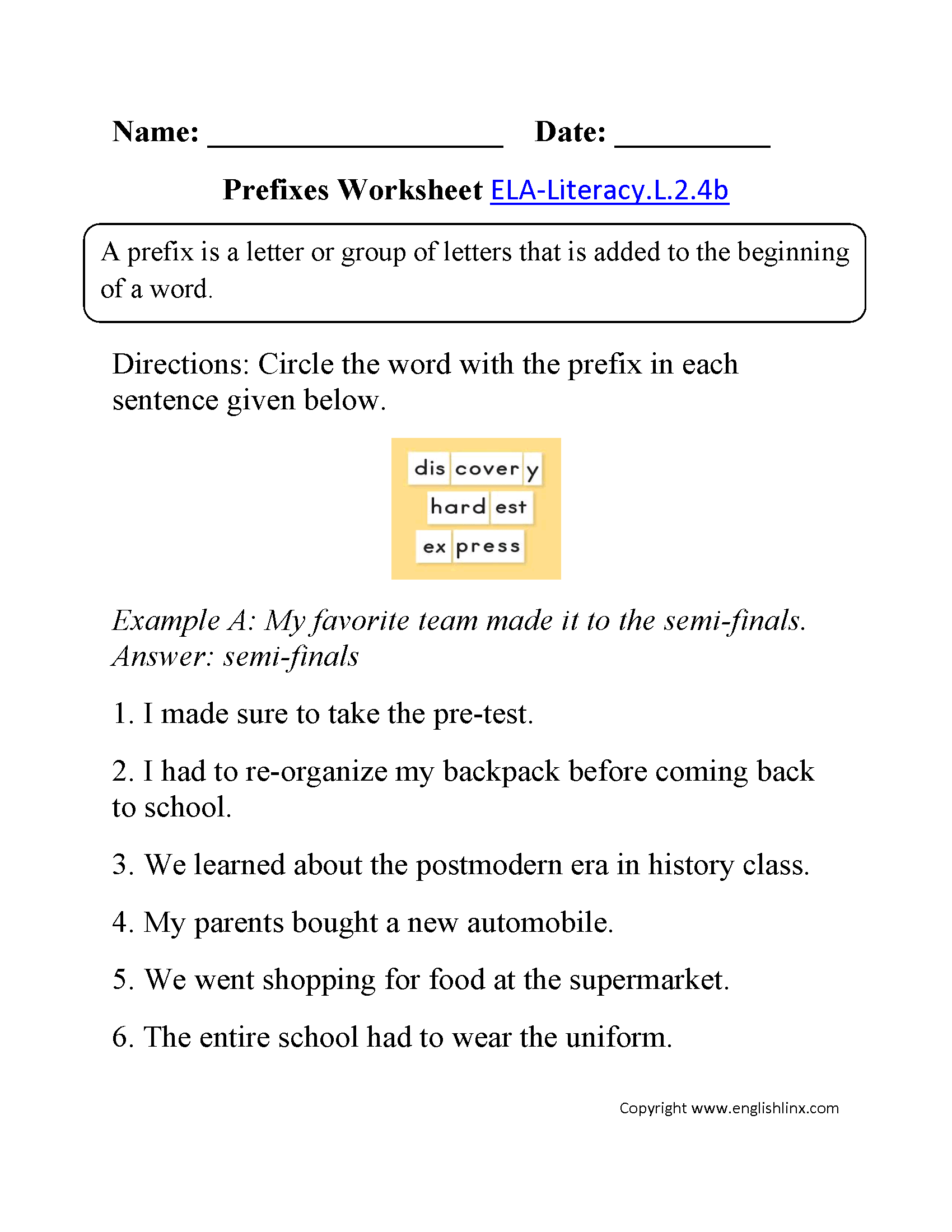 Prefixes Worksheet 2 Ela Literacy L 2 4b Language