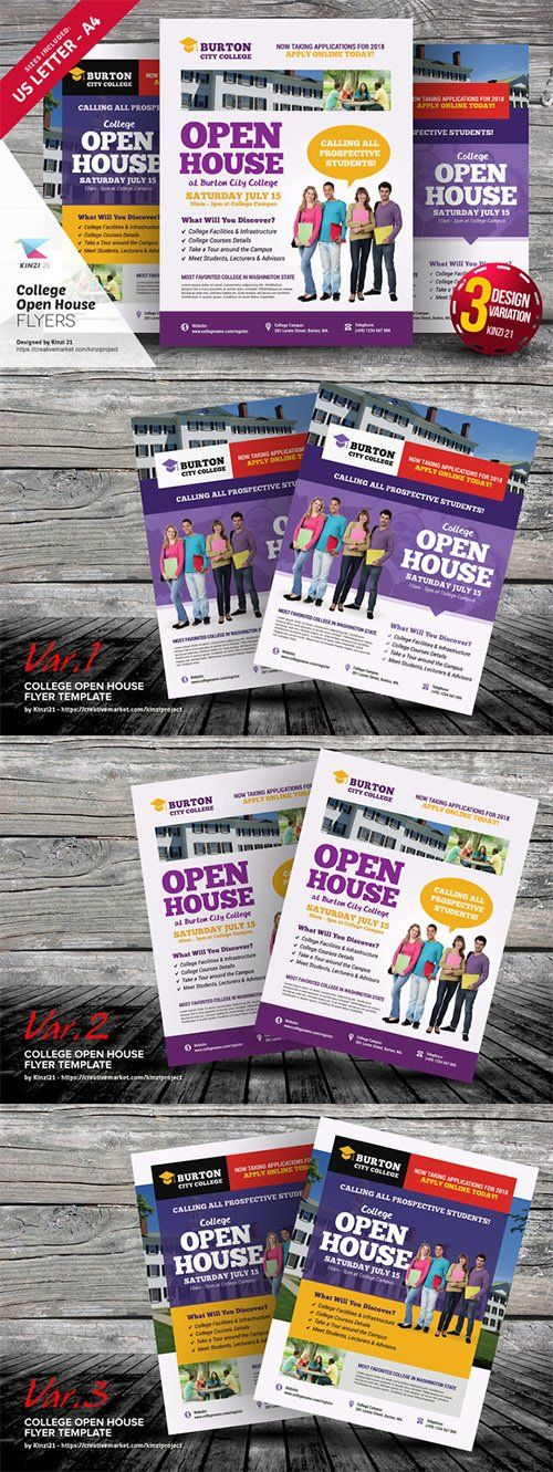 College Open House Flyer Templates - Creativemarket 639554 REAL - open house templates