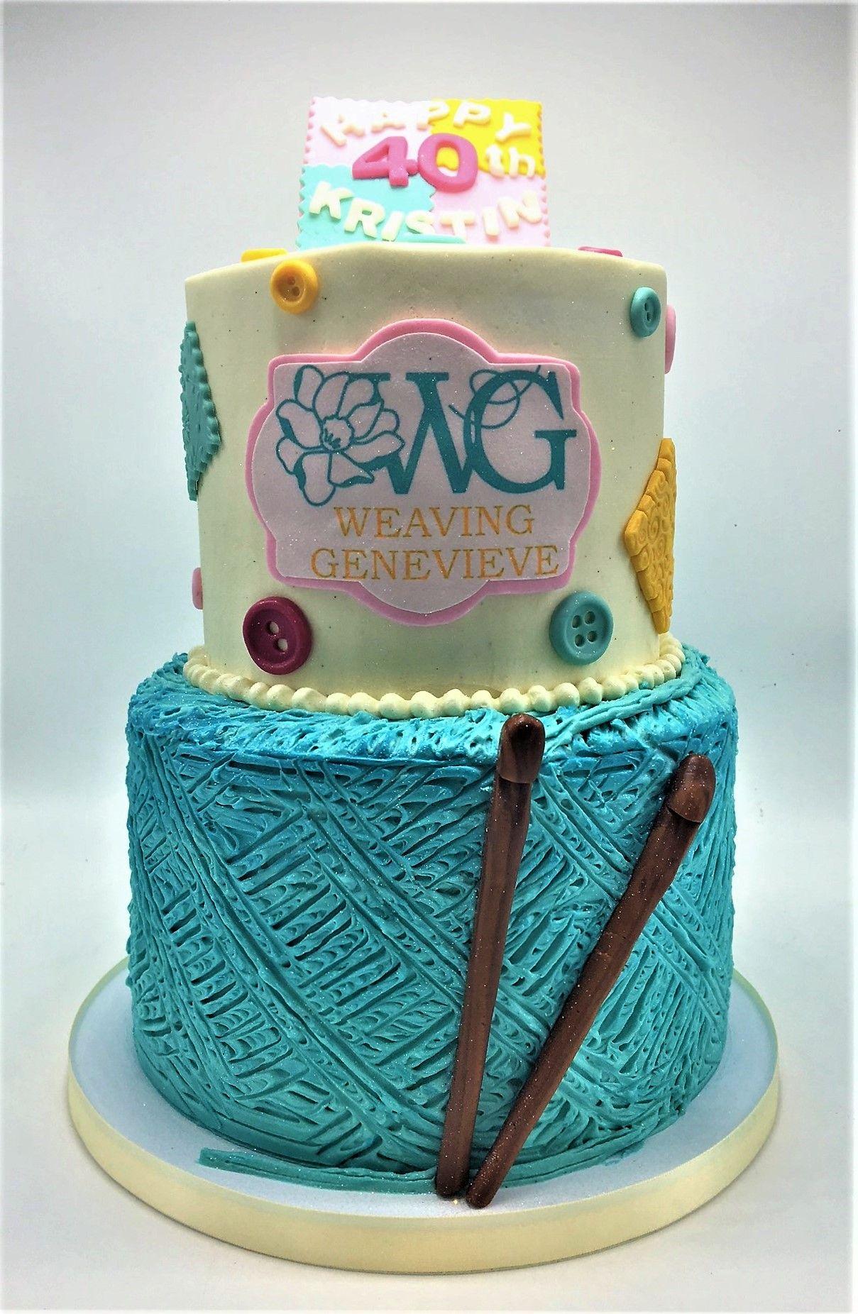 2 Tier Crochet Knitting Yarn Themed 40th Birthday Cake By Flavor
