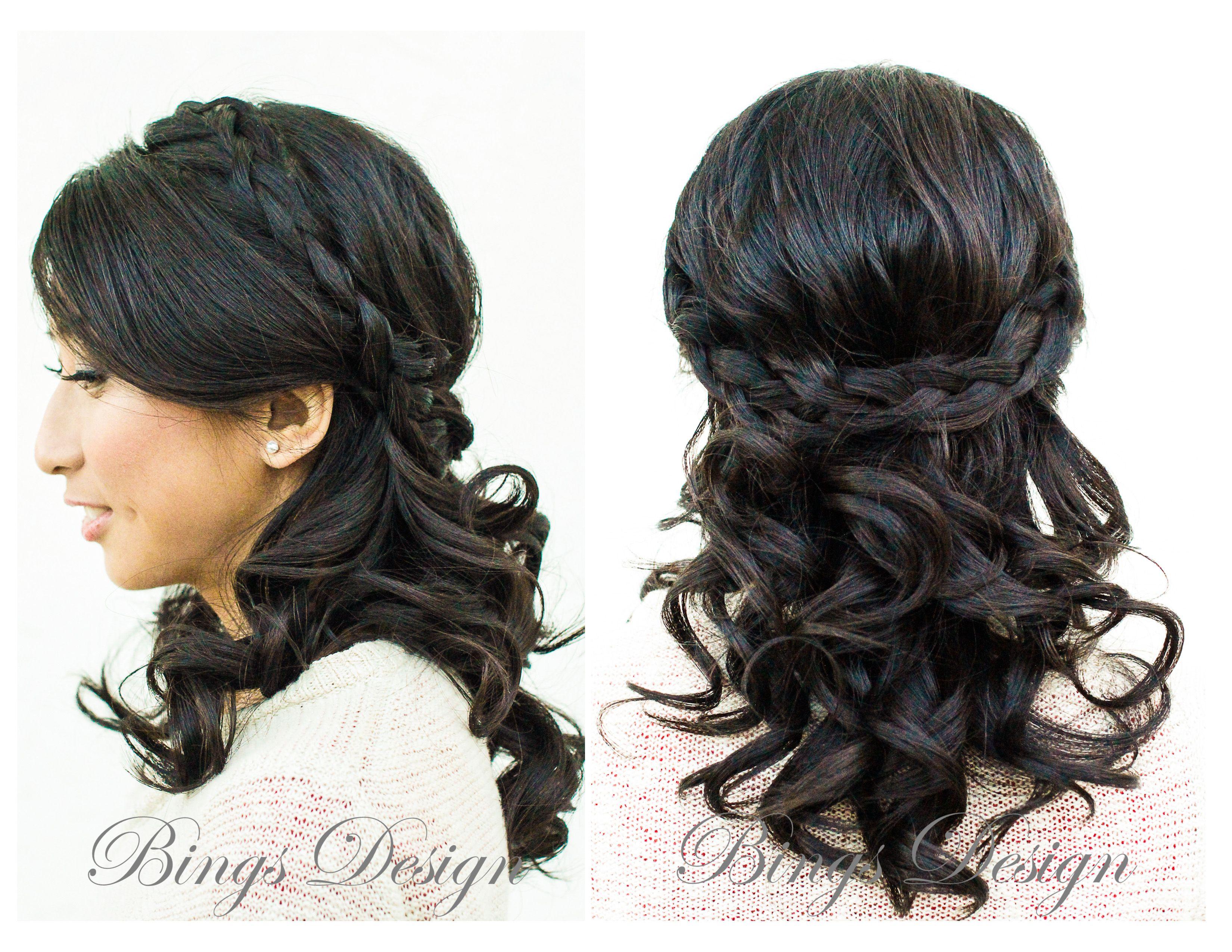 braided half up half down hairstyle for medium length hair