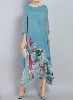 Casual Floral None Round Neckline Shift Dress Floryday Vestidos Formales Para Senoras Vestidos De Mujer Vestidos De Talla Grande